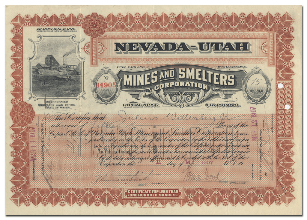Nevada-Utah Mines and Smelters Corporation Stock Certificate