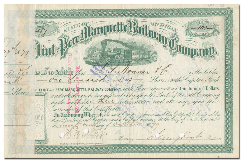 Flint and Pere Marquette Railway Company Stock Certificate