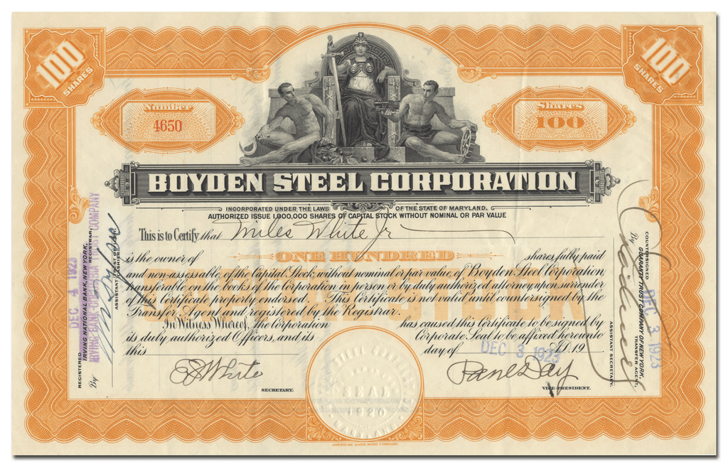Boyden Steel Corporation Stock Certificate