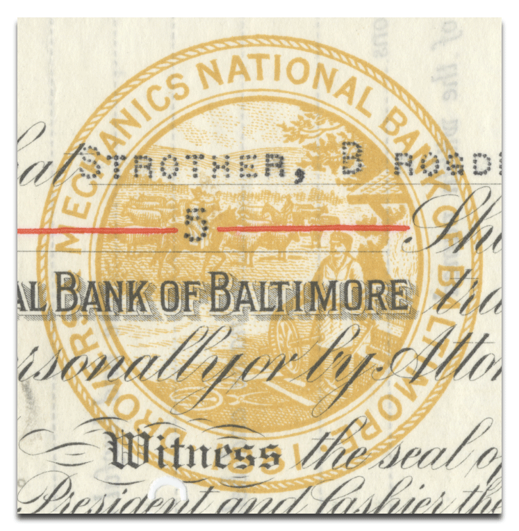 Drovers and Mechanics National Bank of Baltimore Stock Certificate