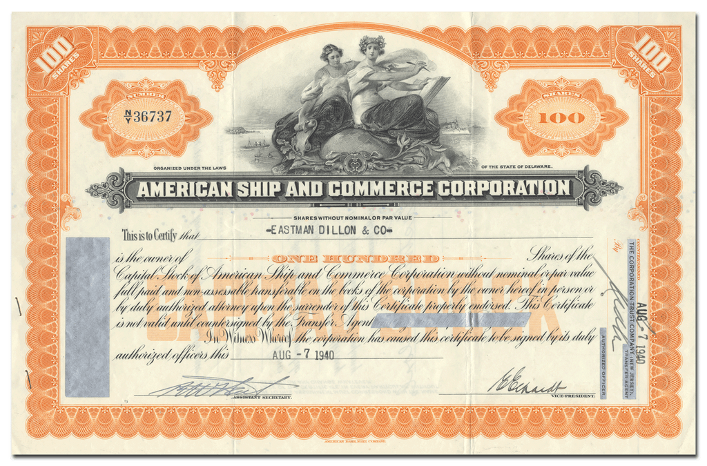 American Ship and Commerce Corporation Stock Certificate
