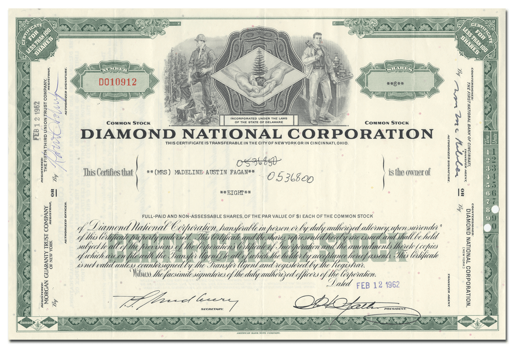 Diamond National Corporation Stock Certificate