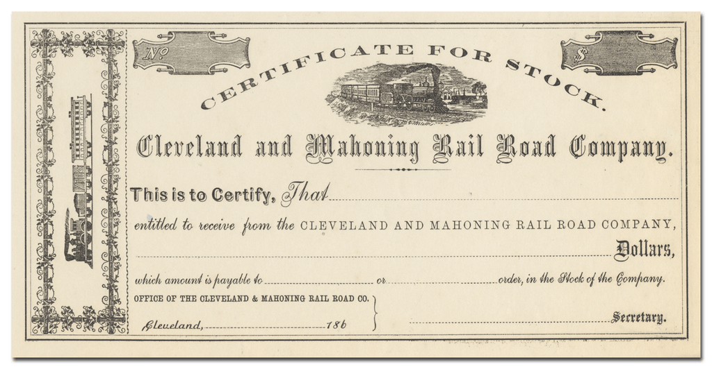 Cleveland and Mahoning Rail Road Company Stock Certificate