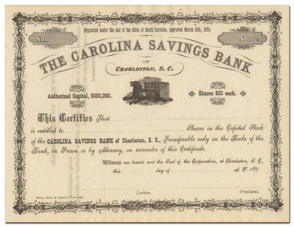 Carolina Savings Bank Stock Certificate
