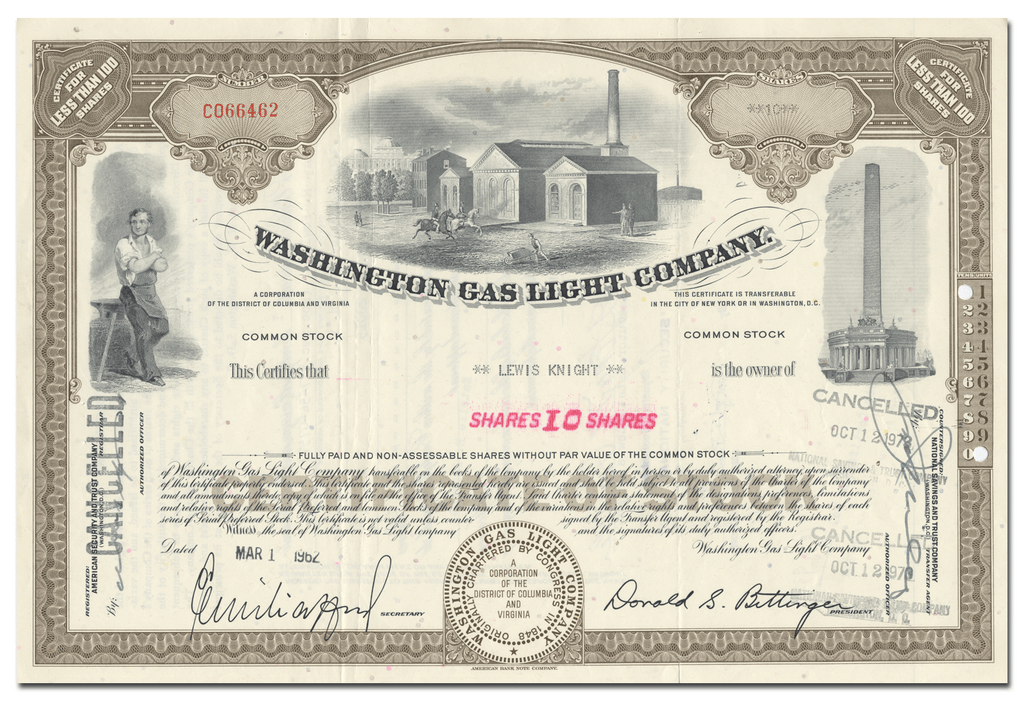 Washington Gas Light Company Stock Certificate