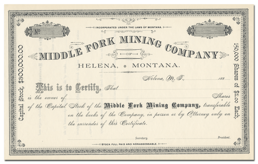 Middle Fork Mining Company Stock Certificate
