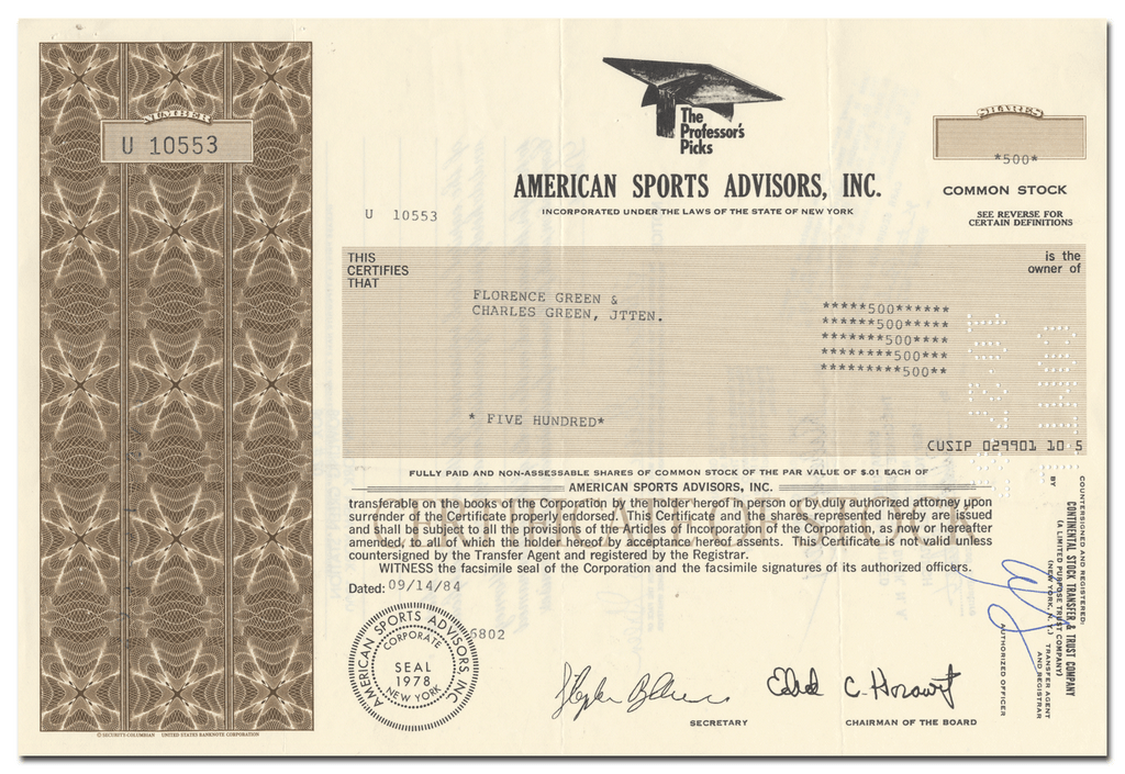 American Sports Advisors, Inc. Stock Certificate