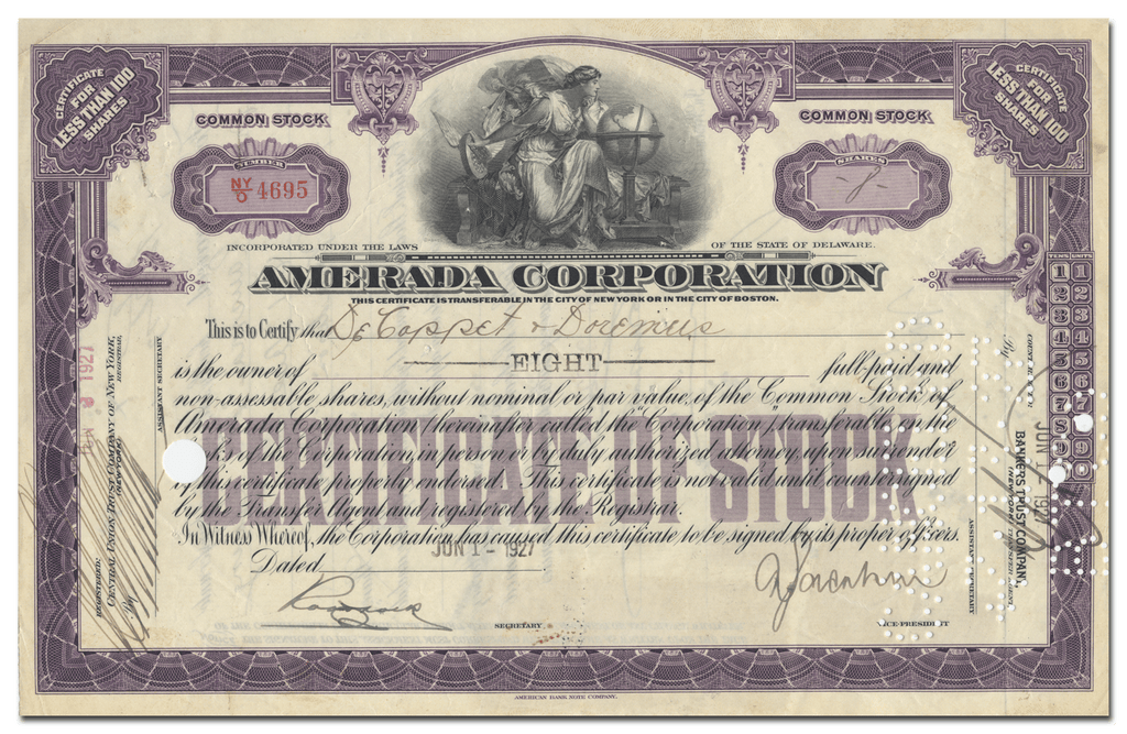 Amerada Corporation Stock Certificate