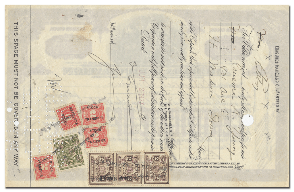 Amerada Corporation Stock Certificate (Revenue Stamps on Back)