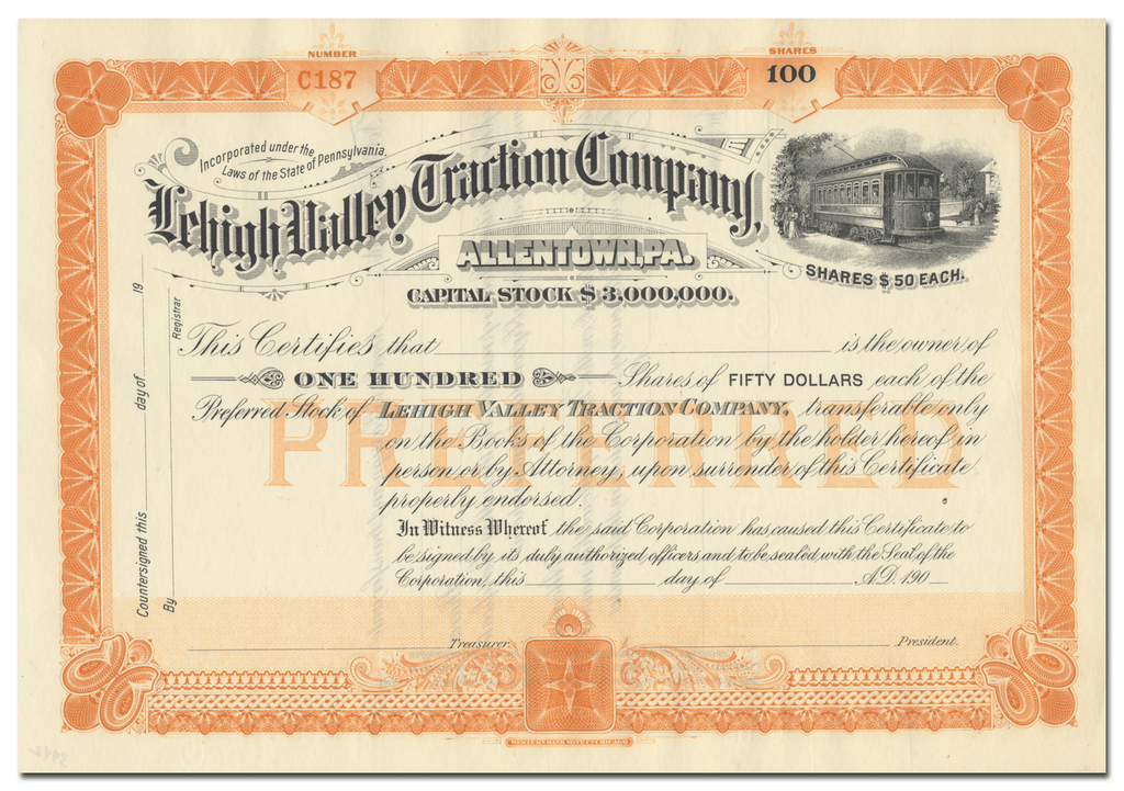 Lehigh Valley Traction Company Stock Certificate