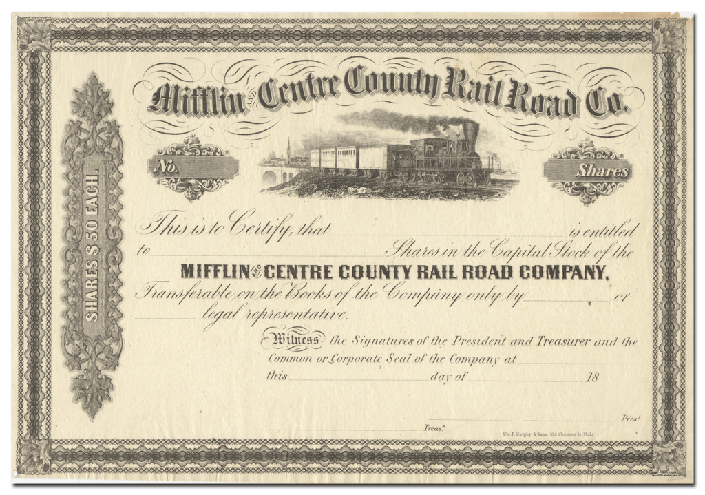 Mifflin and Centre County Rail Road Company Stock Certificate