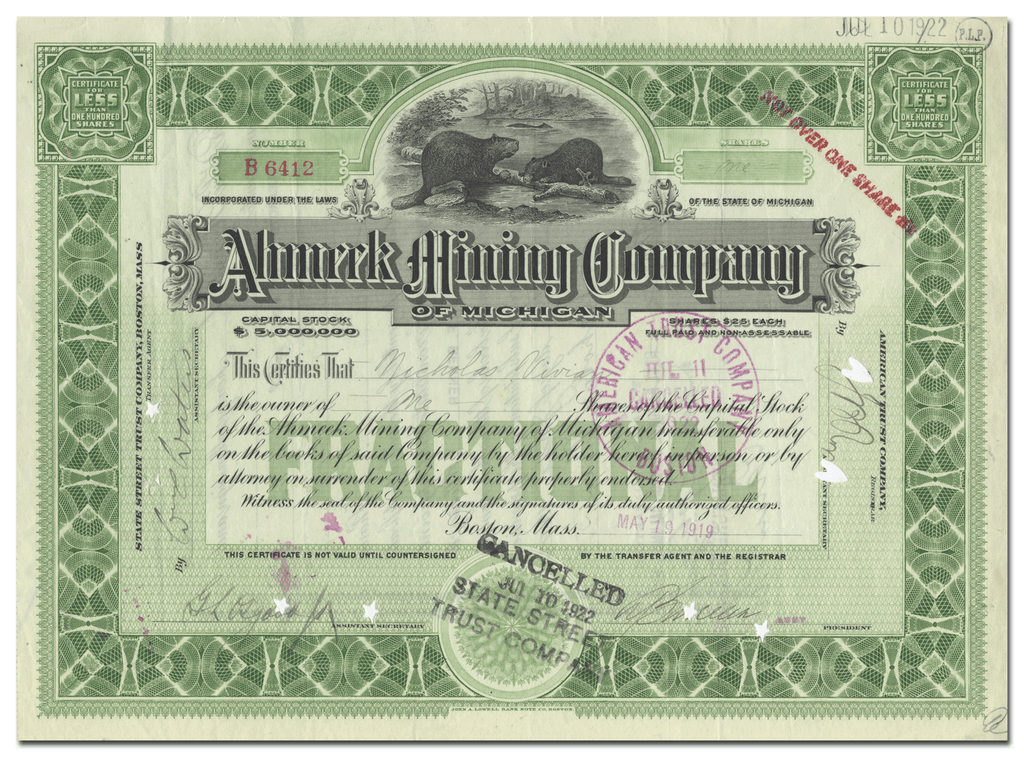 Ahmeek Mining Company of Michigan Stock Certificate