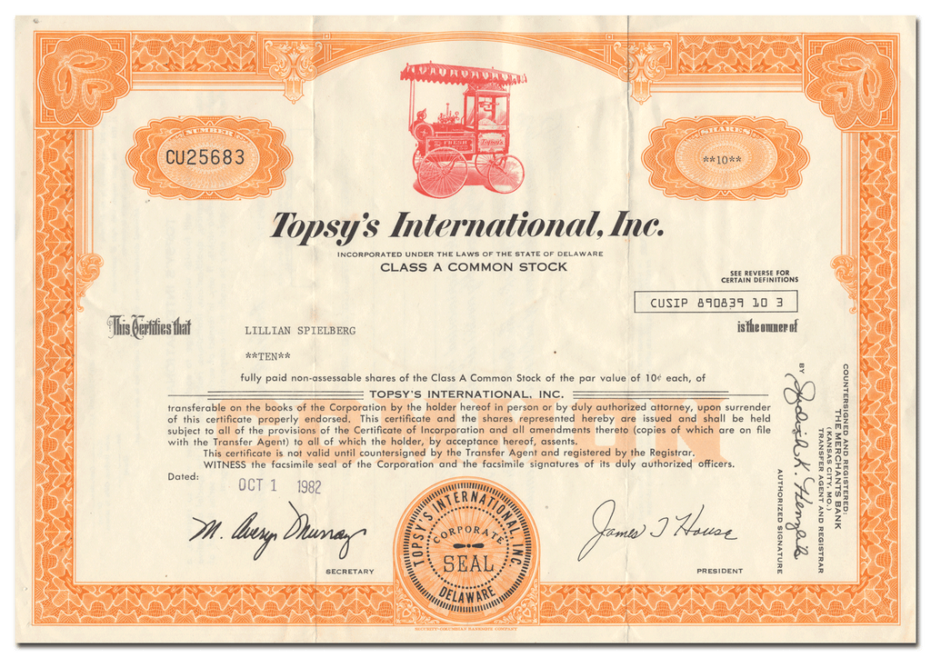 Topsy's International, Inc. Stock Certificate