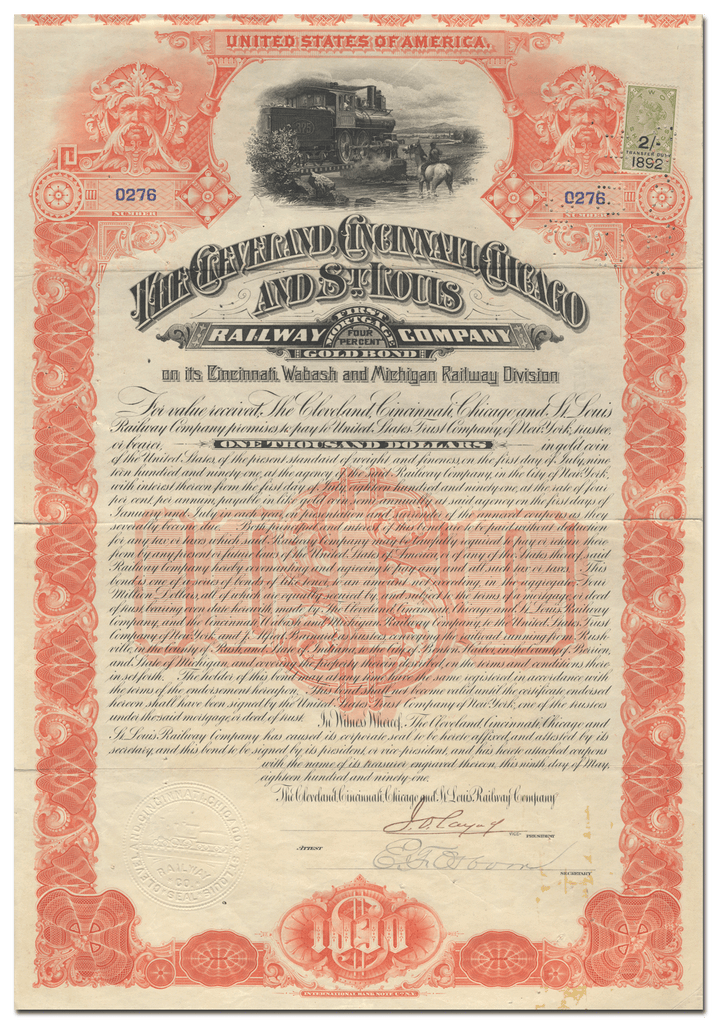 Cleveland, Cincinnati, Chicago and St. Louis Railway Company Bond Certificate
