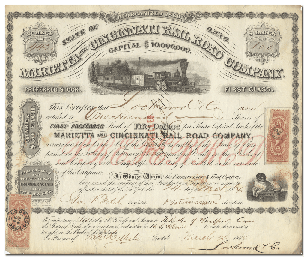 Marietta and Cincinnati Railroad Company Stock Certificate
