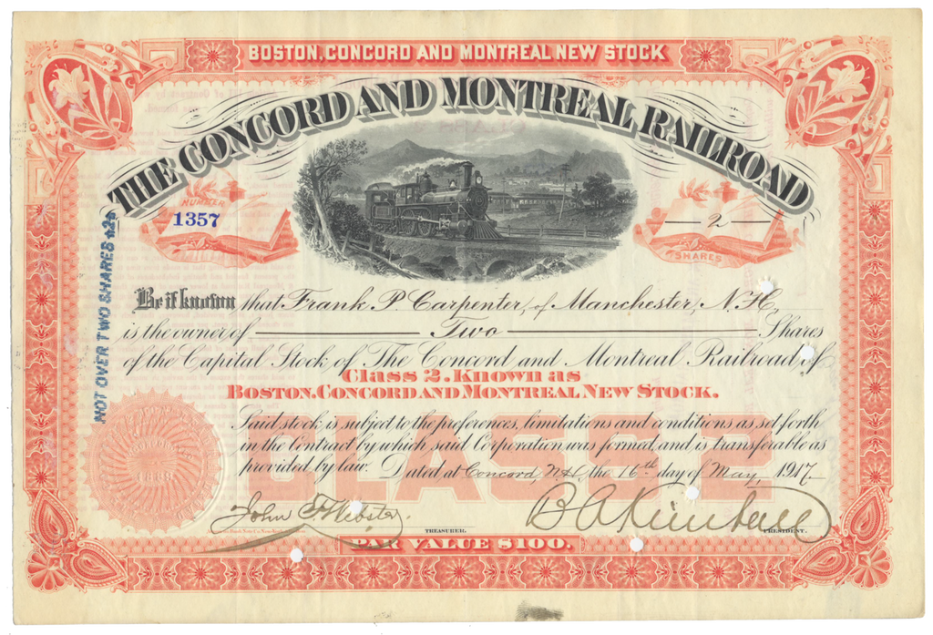 Concord and Montreal Railroad Stock Certificate