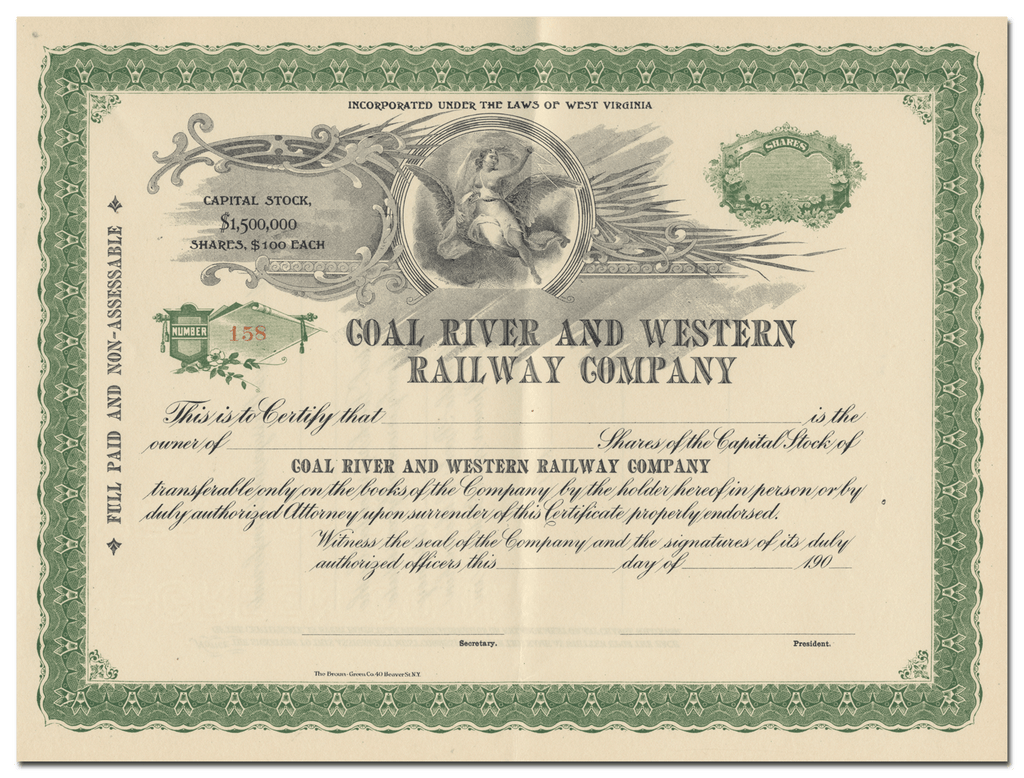 Coal River and Western Railway Company Stock Certificate