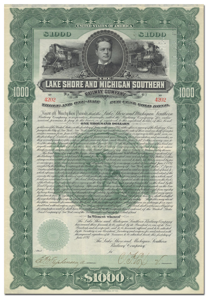 Lake Shore and Michigan Southern Railway Company Bond Certificate