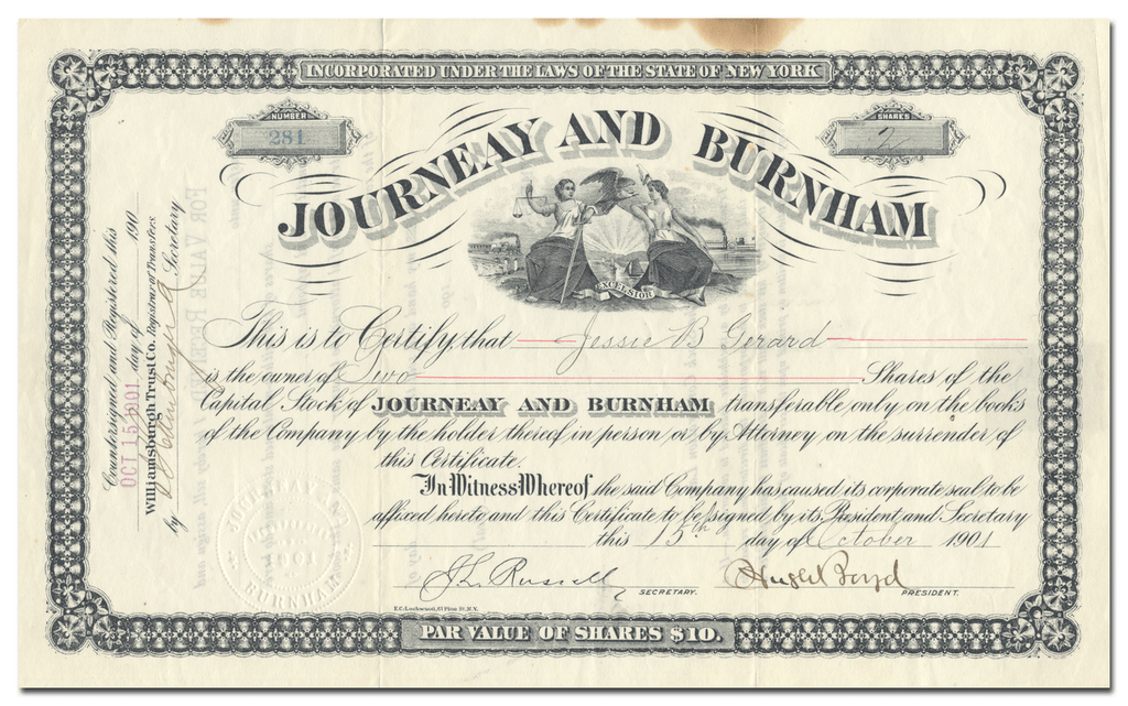 Journeay and Burnham Stock Certificate