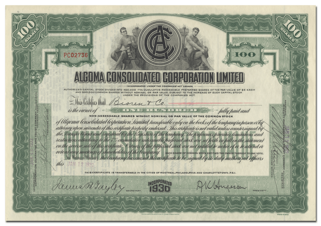 Algoma Consolidated Corporation Limited Stock Certificate