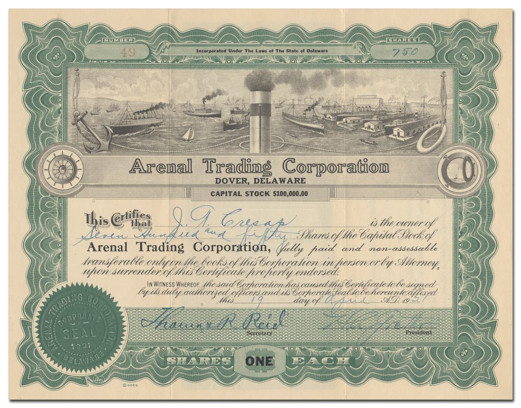 Arenal Trading Corporation Stock Certificate