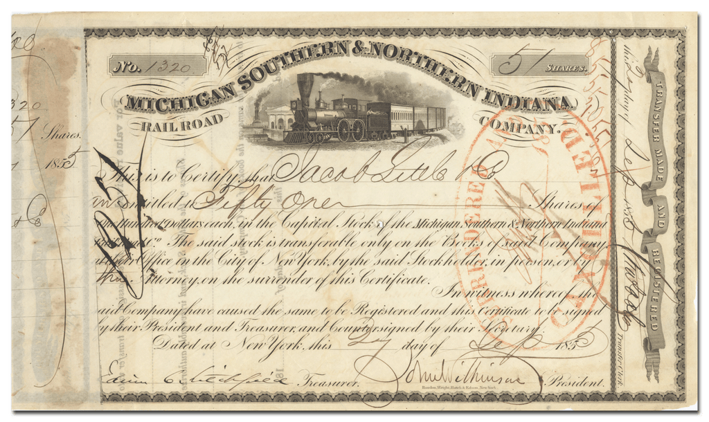 Michigan Southern & Northern Indiana Rail Road Company Stock Certificate