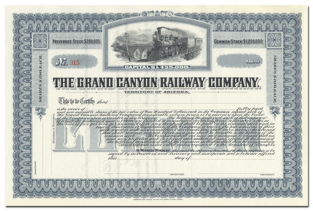 Grand Canyon Railway Company Stock Certificate