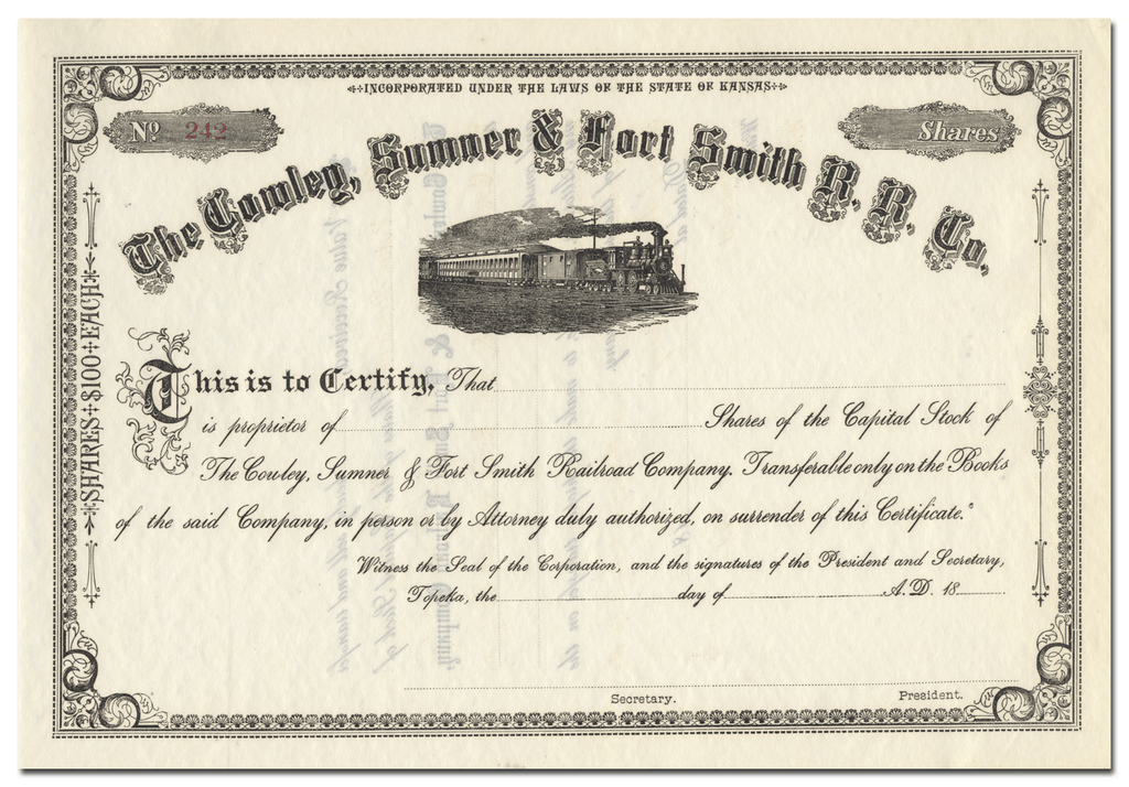 Cowley, Sumner & Fort Smith Railroad Company Stock Certificate