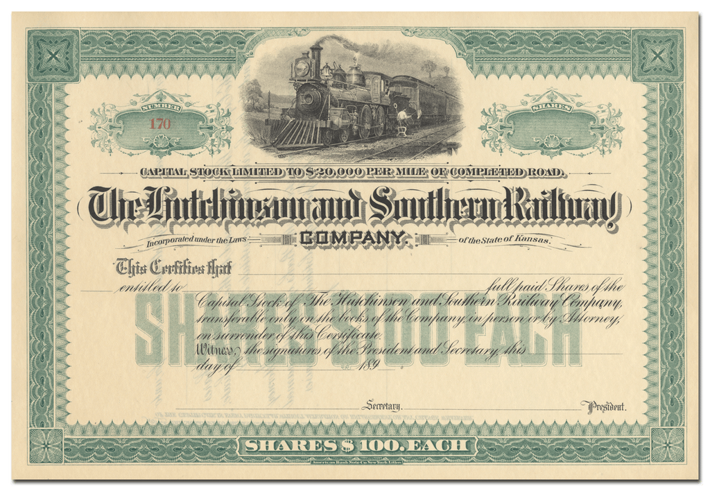 Hutchinson and Southern Railway Company Stock Certificate