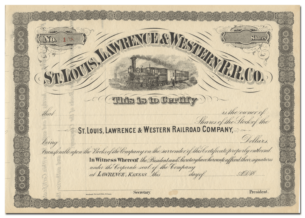 St. Louis, Lawrence & Western Railroad Company Stock Cedrtificate
