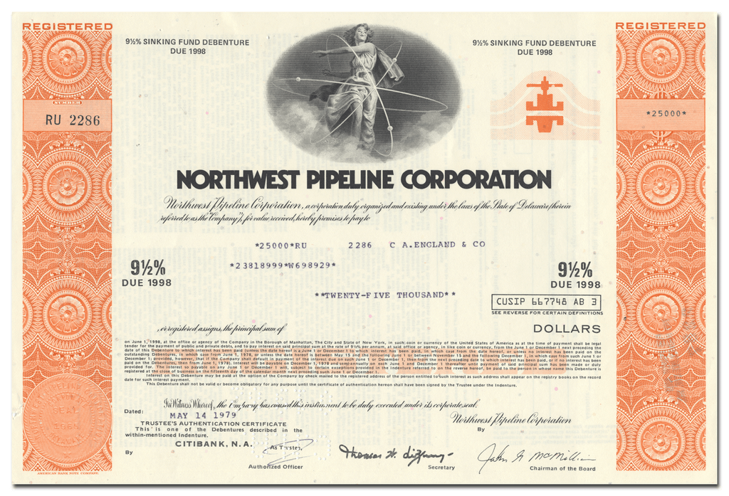 Northwest Pipeline Corporation Bond Certificate