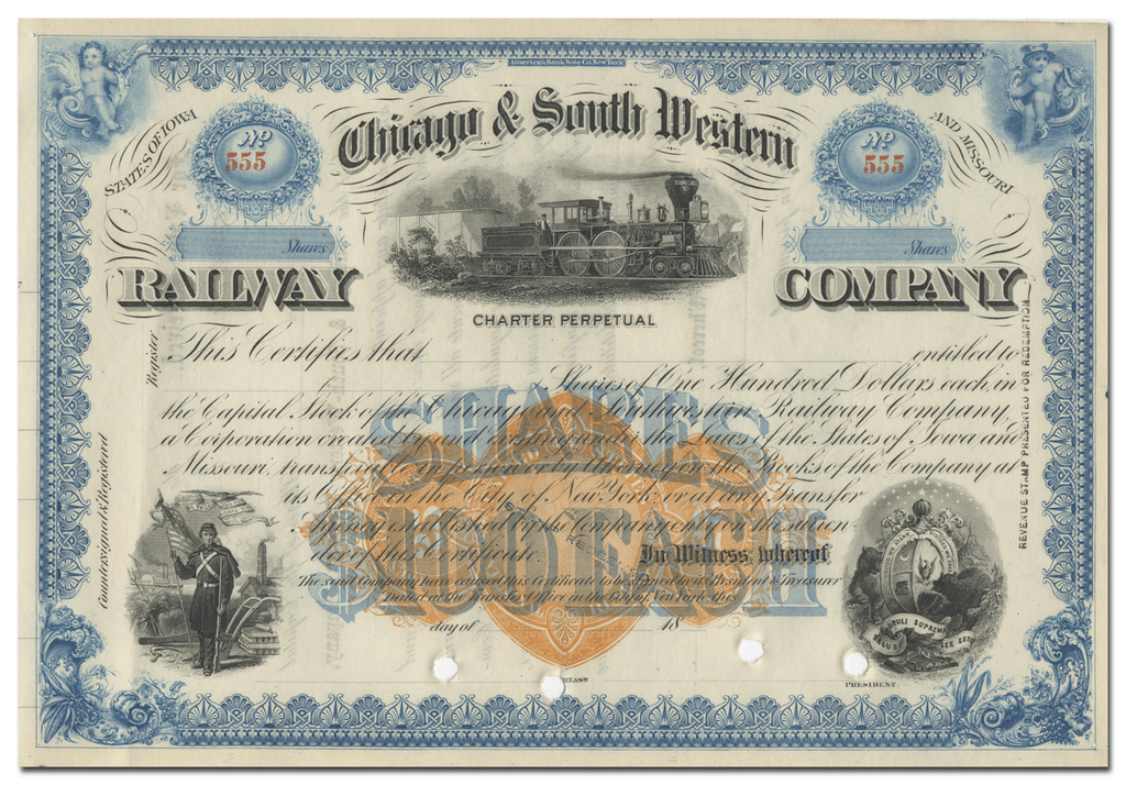 Chicago & South Western Railway Company Stock Certificate