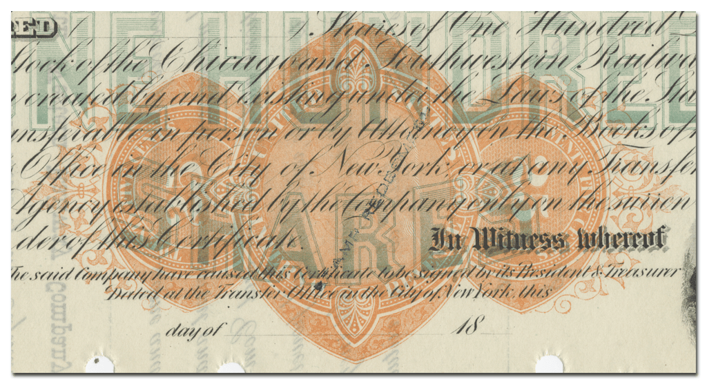 Chicago & South Western Railway Company Stock Certificate (Revenue Stamp)