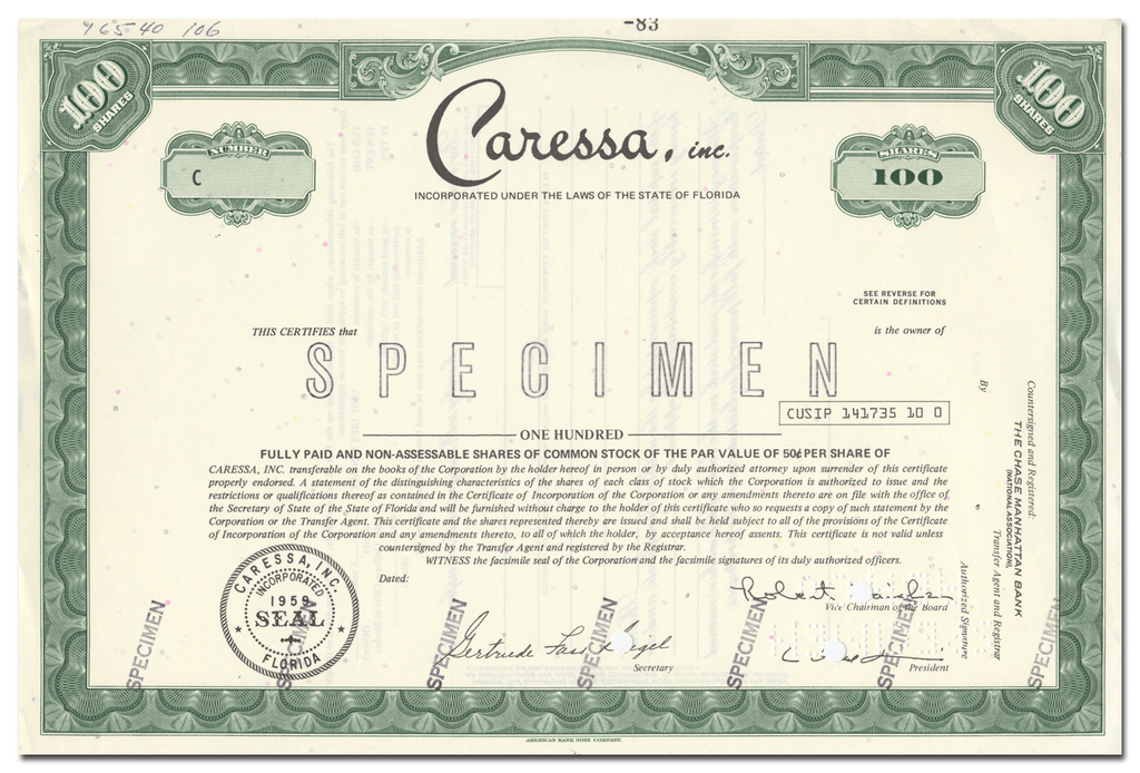 Caressa, Inc. Specimen Stock Certificate
