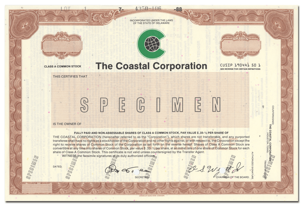 Coastal Corporation Specimen Stock Certificate