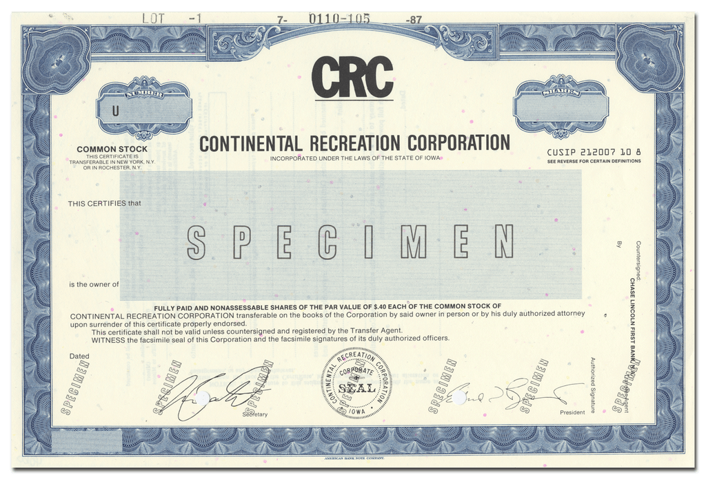 Continental Recreation Corporation Specimen Stock Certificate