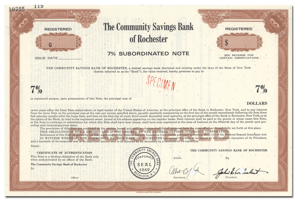Community Savings Bank of Rochester Bond Certificate