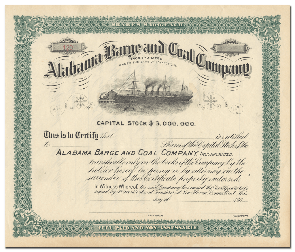 Alabama Barge and Coal Company Stock Certificate