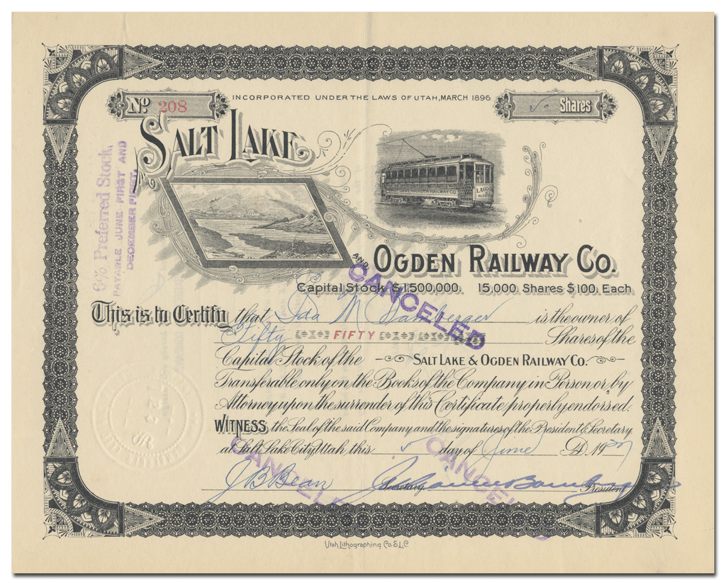 Salt Lake and Ogden Railway Co. Stock Certificate