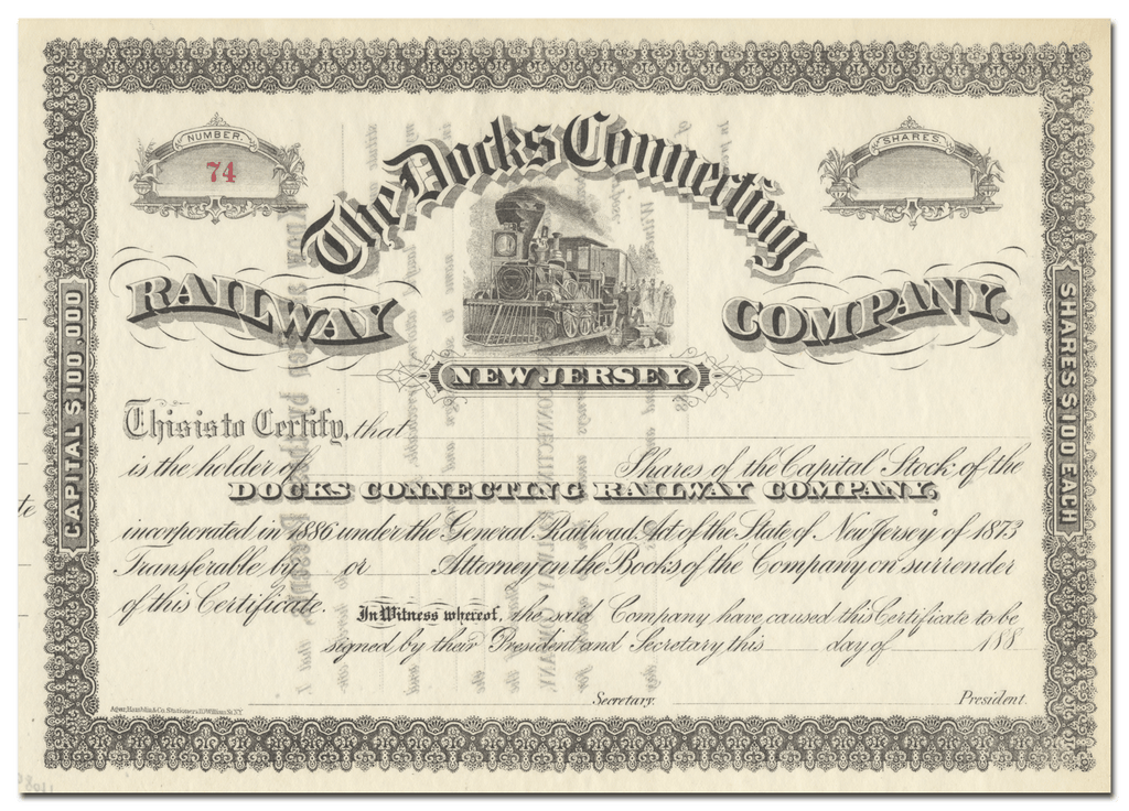 Docks Connecting Railway Company Stock Certificate
