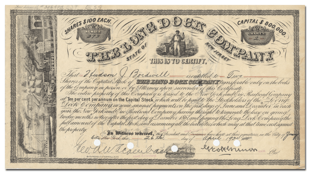 The Long Dock Company Stock Certificate