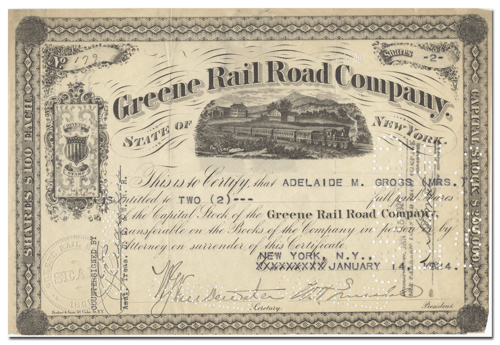 Greene Rail Road Company Stock Certificate