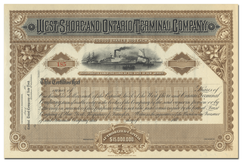 West Shore and Ontario Terminal Company Stock Certificate