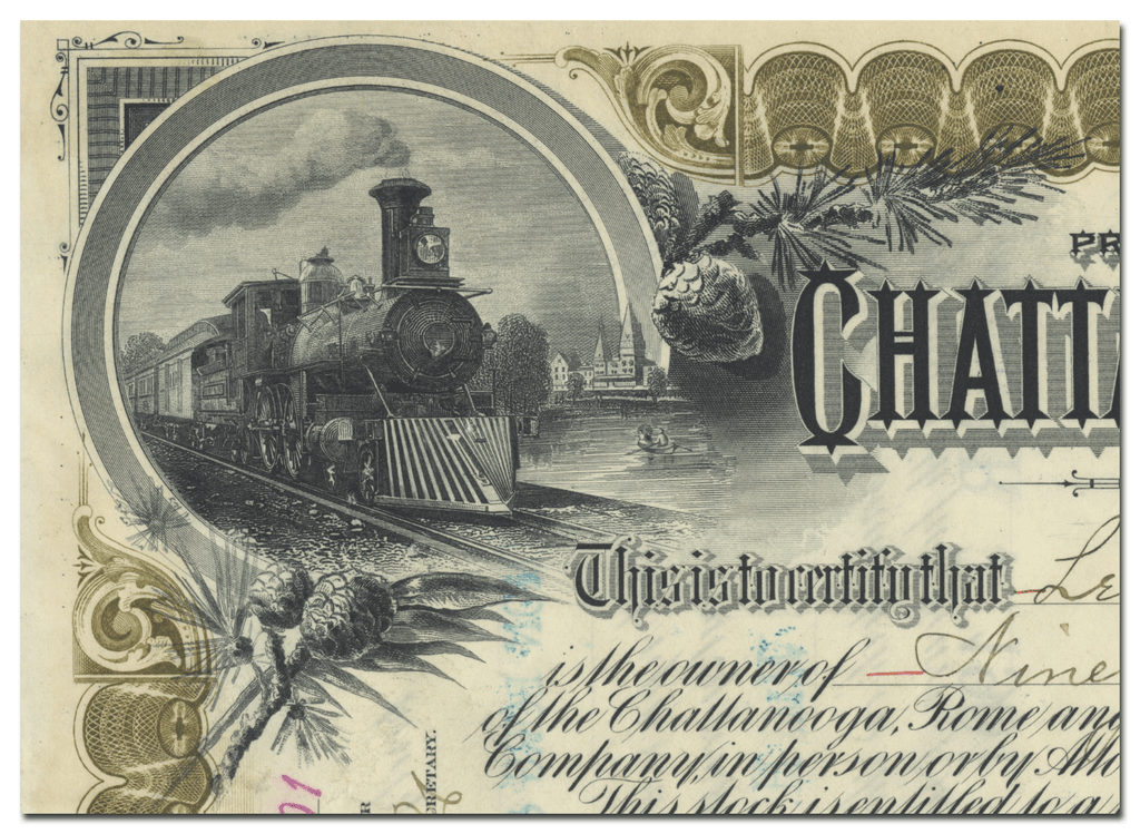 Chattanooga, Rome and Southern Railroad Company Stock Certificate