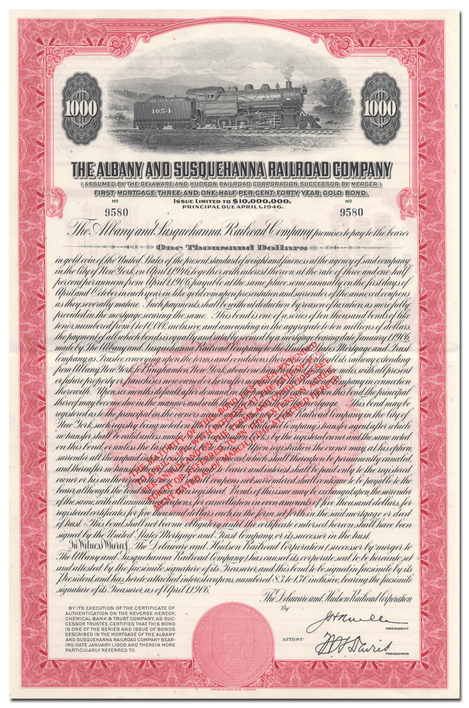 Albany and Susquehanna Railroad Company Bond Certificate