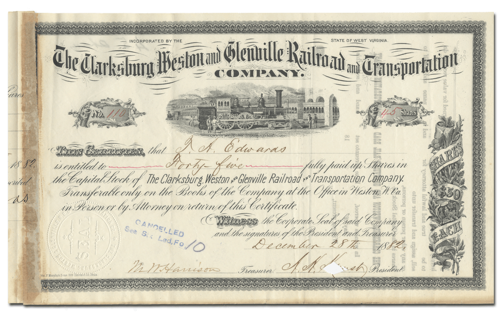 Clarksburg, Weston and Glenville Railroad and Transportation Company Stock Certificate