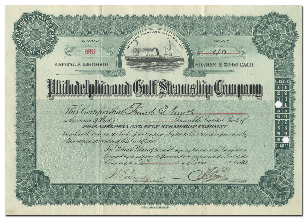Philadelphia and Gulf Steamship Company Stock Certificate