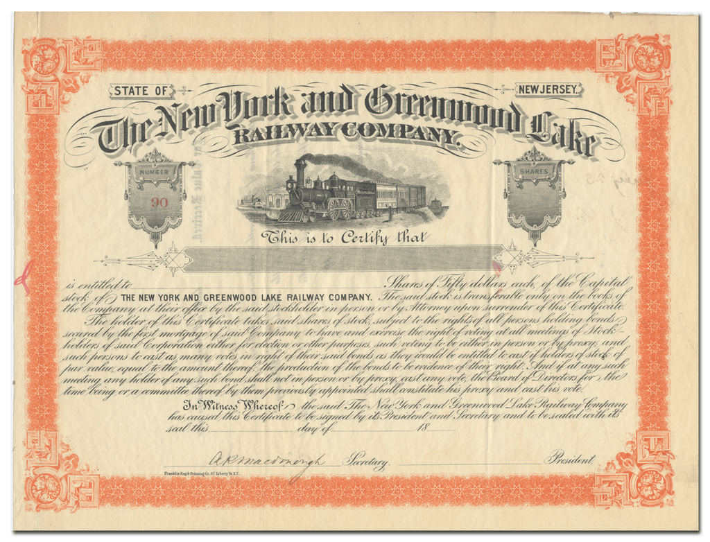 New York and Greenwood Lake Railway Company Stock Certificate
