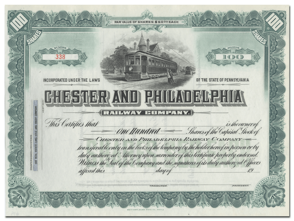 Chester and Philadelphia Railway Company Stock Certificate