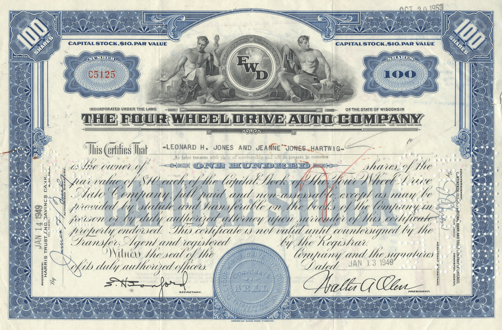 Four Wheel Drive Company Stock Certificate